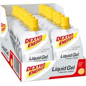 Dextro Energy Liquid Gel Sports Nutrition Grapefruit with Natrium 18 x 60ml grey/orange
